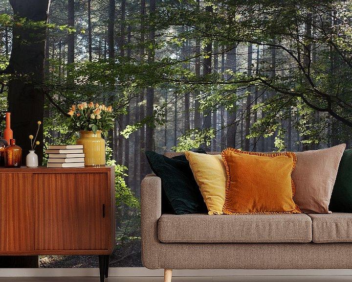 Sfeerimpressie behang: Zonnestralen in het bos van Arthur van Iterson