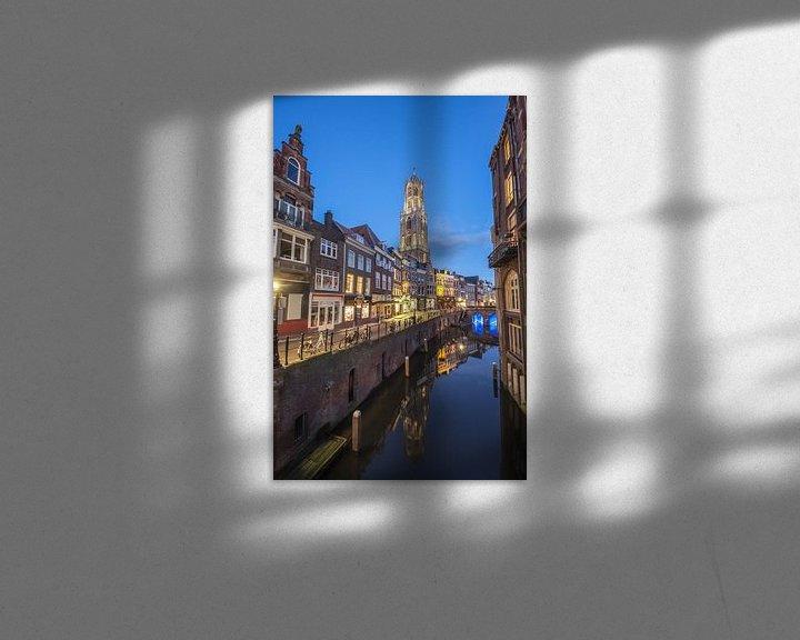 Sfeerimpressie: Oudegracht Utrecht vlak na een prachtige zonsondergang van Juriaan Wossink