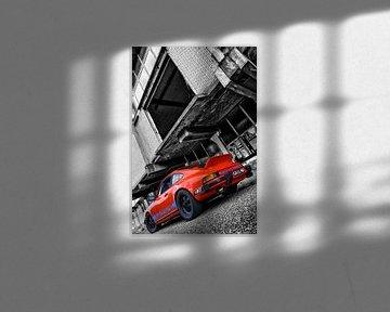 Oranje Porsche 911 voor vervallen pand in zwart wit van 2BHAPPY4EVER.com photography & digital art