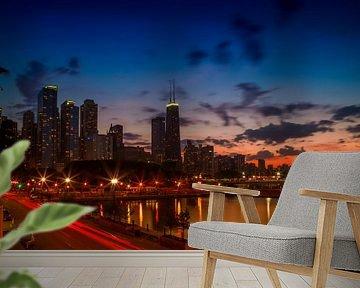 CHICAGO Zonsondergang van Melanie Viola