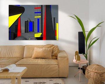 Kleurencompositie over moderne architectuur in Rotterdam