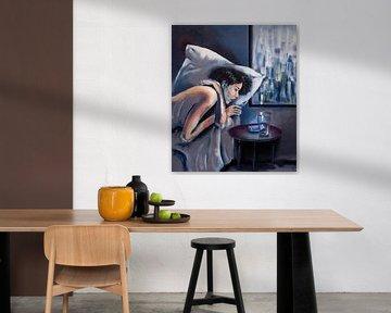 """""""Online"""" - vrouwelijk naakt in bed met glas en telefoon von David Berkhoff"""