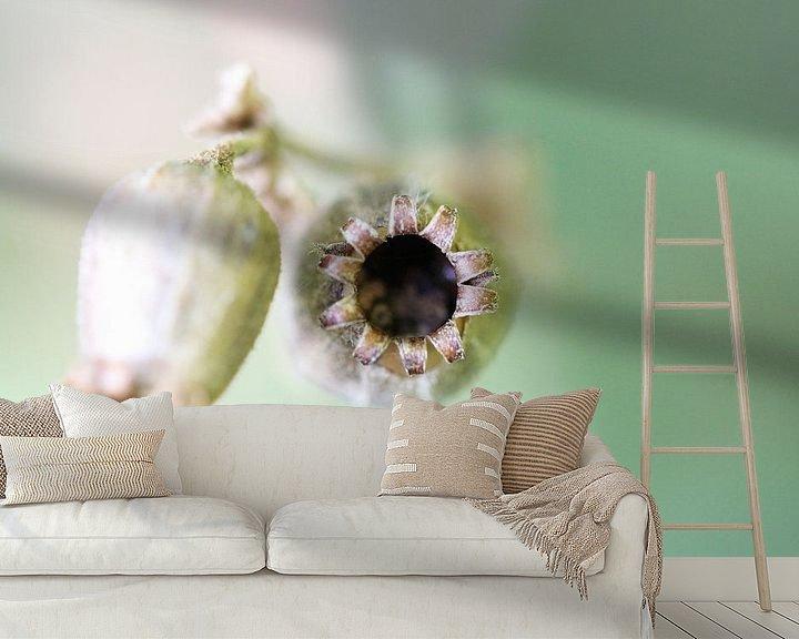 Sfeerimpressie behang: Zaaddoosjes Koekoeksbloem van Dick Vermeij