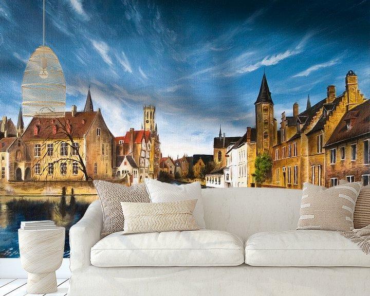 Sfeerimpressie behang: Rozenkaai Brugge België van David Berkhoff