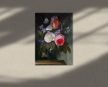 Roses et Tulipes dans un vase en verre, Jan Philips van Thielen