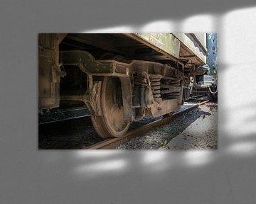 oude wielen van een treinstel
