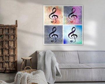 Music Shines Collage  Pastel van Nicky`s Prints
