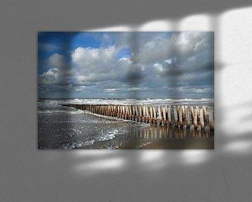 Paalhoofden bij Domburg van Zeeland op Foto