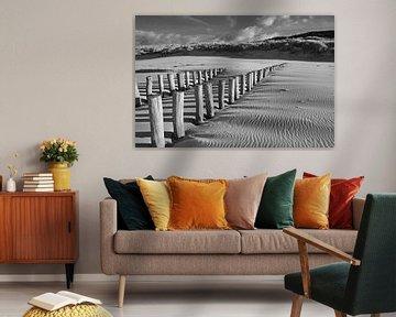 Paalhoofden op het strand bij Domburg van Zeeland op Foto