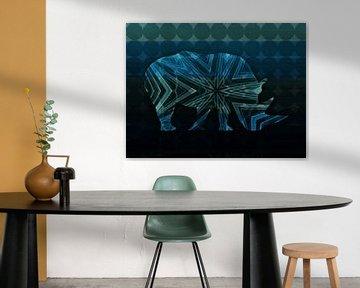 Blauwe Neushoorn Abstract van Nicky`s Prints