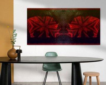Neushoorn Duo Red van Nicky`s Prints