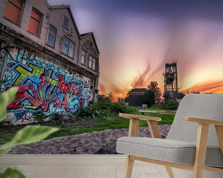 Sfeerimpressie behang: De Hef en grafitti van Prachtig Rotterdam