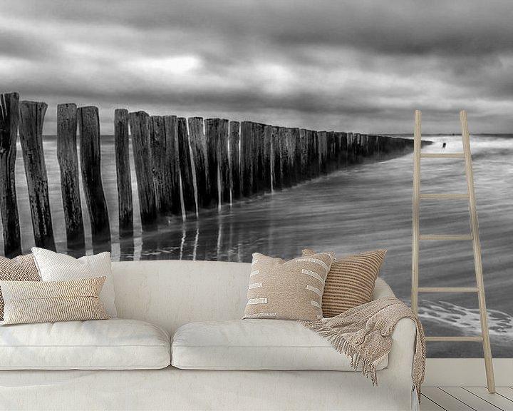 Sfeerimpressie behang: Cadzand - Stormy Beach (ZW) van Joram Janssen