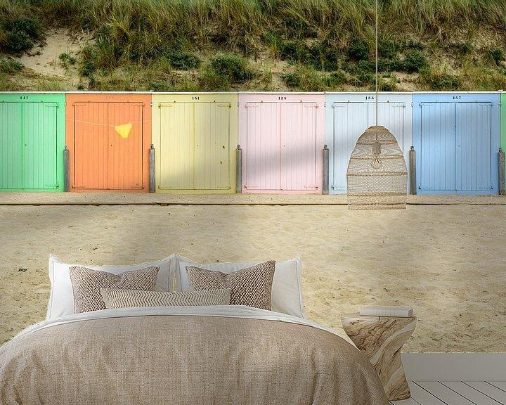 Sfeerimpressie behang: Strand cabines in de avondzon in Domburg van 7Horses Photography