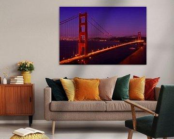 Golden Gate Bridge at Night van Melanie Viola