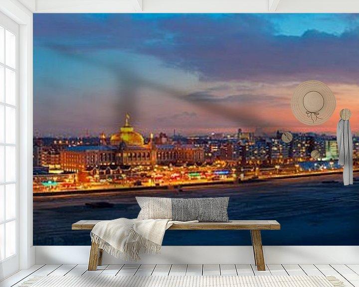 Sfeerimpressie behang: Panorama strand Scheveningen van Anton de Zeeuw