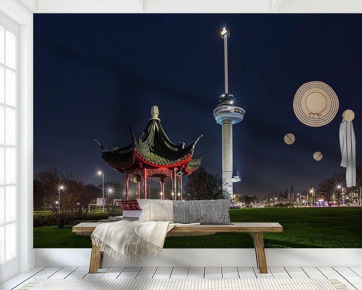 Sfeerimpressie behang: De Euromast in Rotterdam van MS Fotografie | Marc van der Stelt