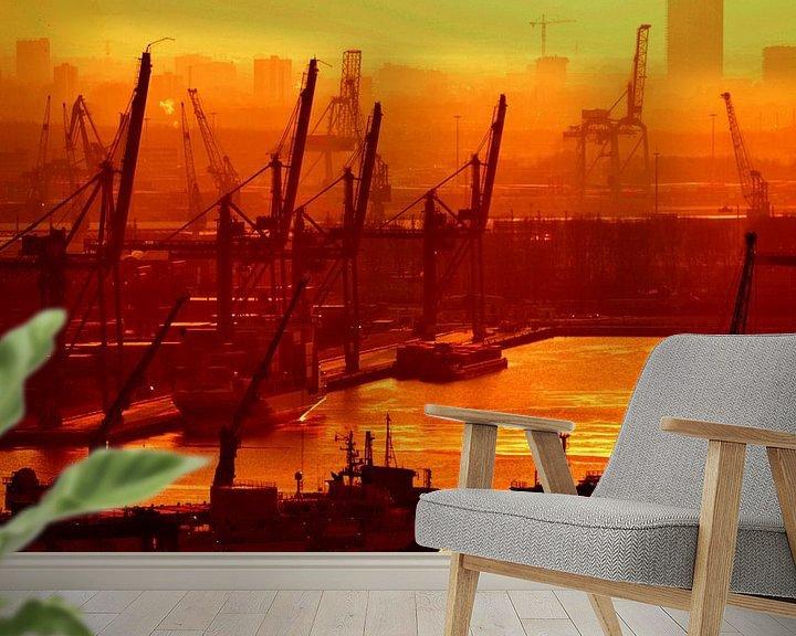 Sfeerimpressie behang: Wereldhaven Rotterdam van Rogier Vermeulen