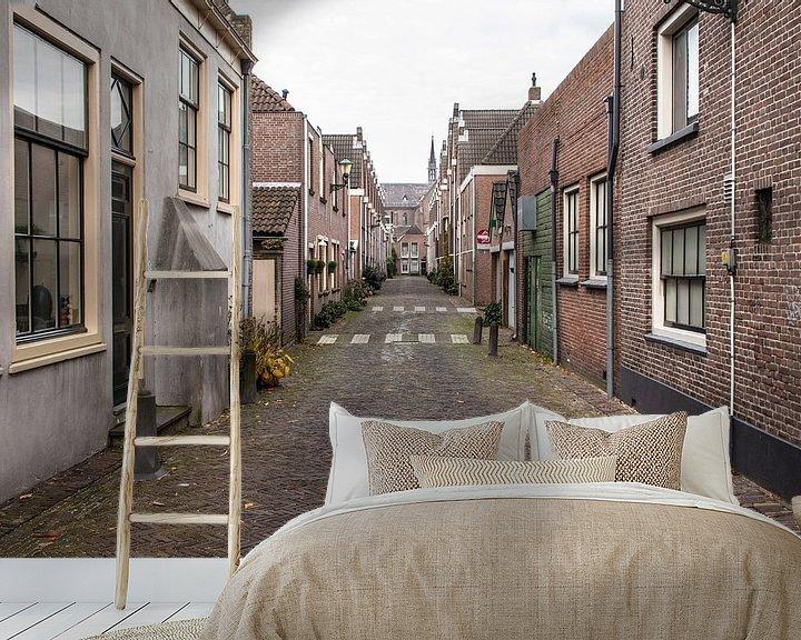 Sfeerimpressie behang: Oud straatje in Alkmaar van Jaap Mulder