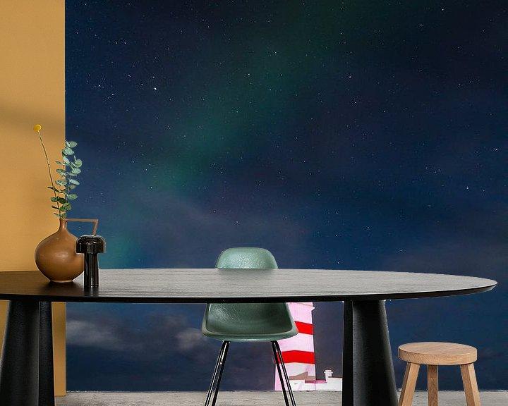 Impression: Aurora Borealis with Lighthouse sur Freek van den Driesschen