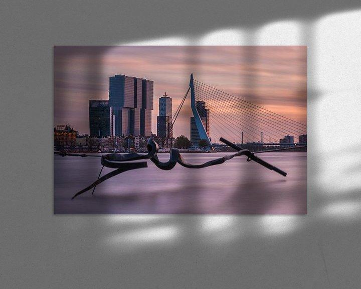 Sfeerimpressie: Skyline of Rotterdam at sunset van Ilya Korzelius