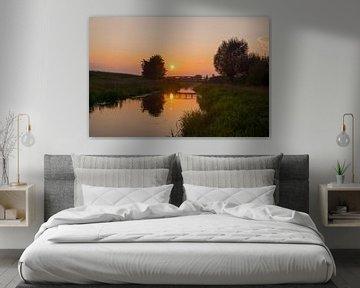 Leijgraaf bij zonsondergang van Francois Debets