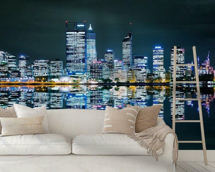 Sfeerimpressie behang: Perth Skyline van Guy Florack