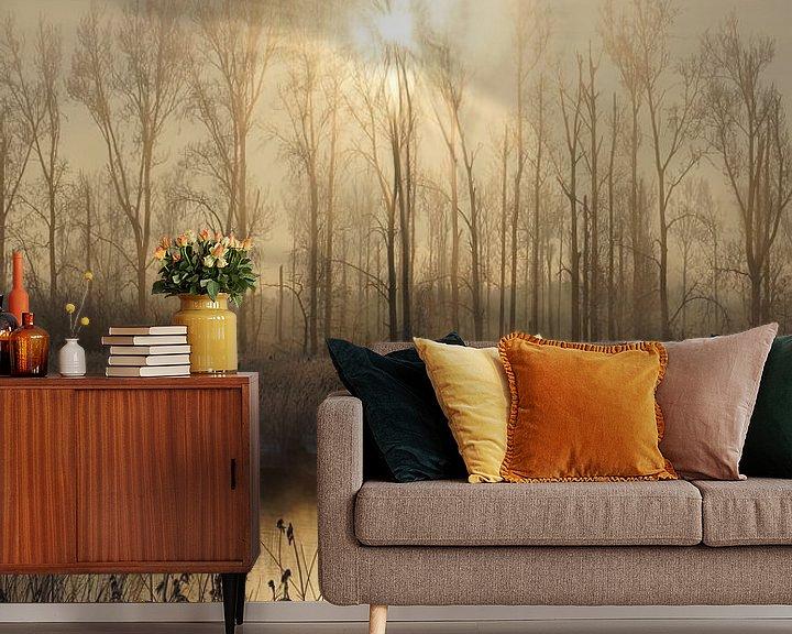 Sfeerimpressie behang: Winter in de Hollandse Biesbosch van Michel van Kooten