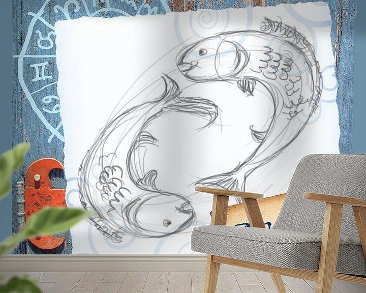Sfeerimpressie behang: Vissen van Studio Zes