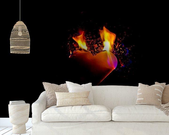 Sfeerimpressie behang: burning heart (8) van Norbert Sülzner