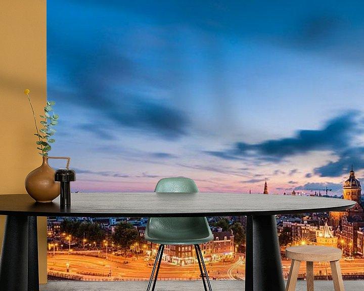 Sfeerimpressie behang: Panorama: Uitzicht over Amsterdam  van John Verbruggen