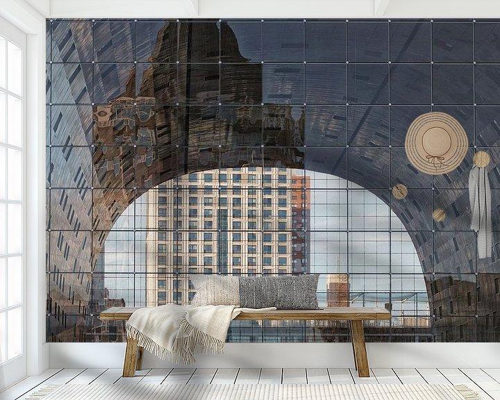 Sfeerimpressie behang: Markthal Rotterdam doorkijk! van Rob van der Teen