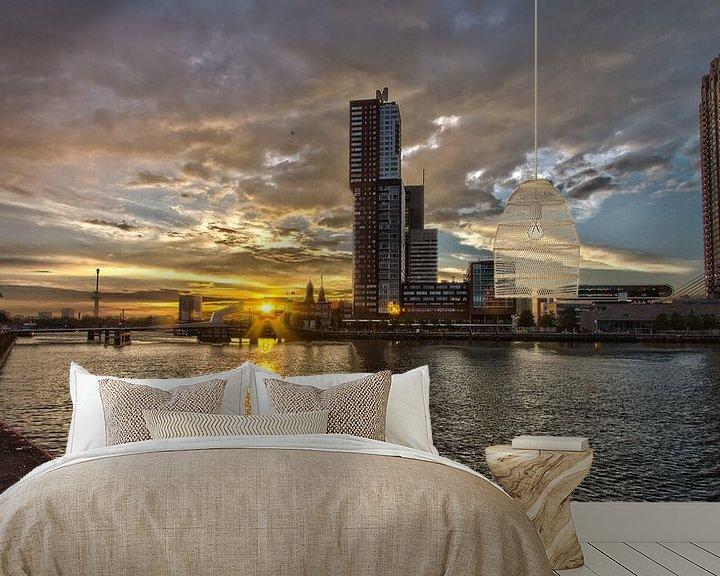 Sfeerimpressie behang: Kop van Zuid (Rotterdam) tijdens zonsondergang van Eddie Meijer