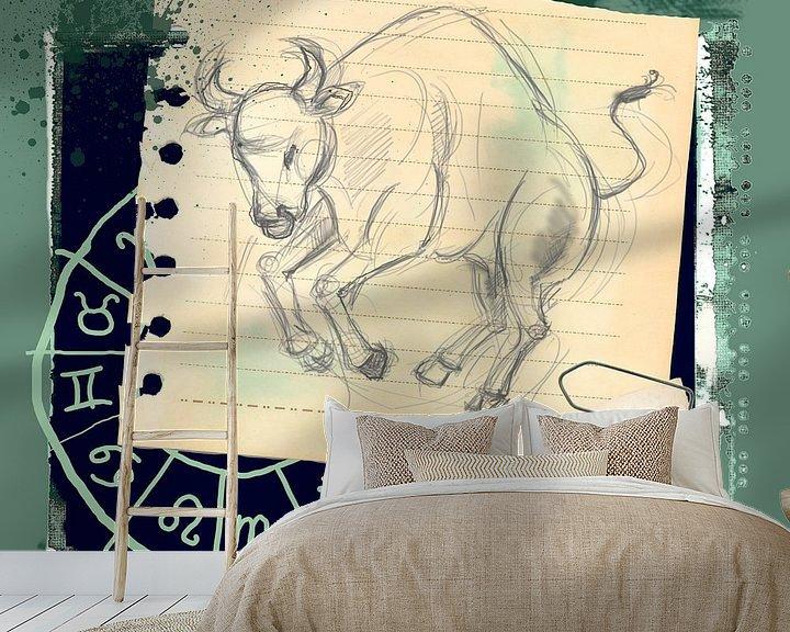Sfeerimpressie behang: Stier van Studio Zes