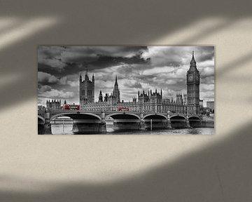 LONDON Themse & Rote Busse auf der Westminster Bridge von Melanie Viola