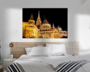 Burchtheuvel Boedapest in de avond van Willem Vernes