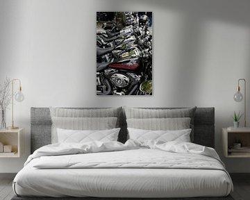 Harley Davidson motoren op een rij van Arie Storm