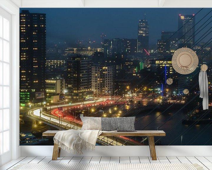 Sfeerimpressie behang: Skyline Rotterdam van Arthur Wolff