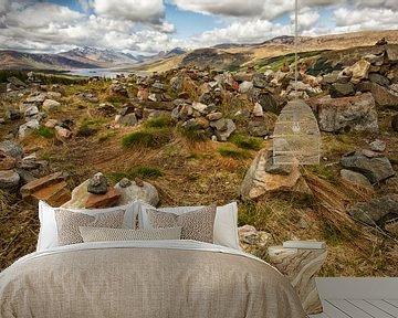 Uitzicht van gedenken bij Loch Loyne, Schotland van Hans Koster
