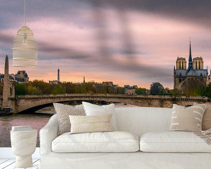 Beispiel fototapete: Parijs, Seine, Notre Dame bij avond von Rob IJsselstein
