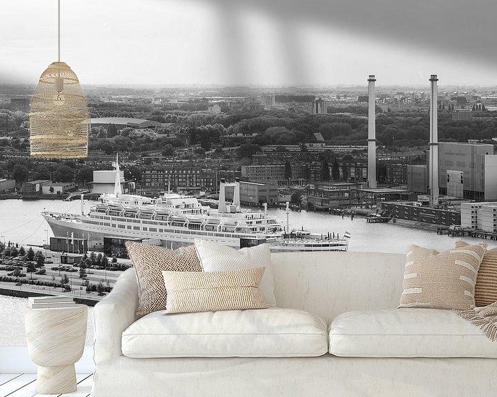 Sfeerimpressie behang: Het SS Rotterdam vanaf de Euromast van MS Fotografie   Marc van der Stelt