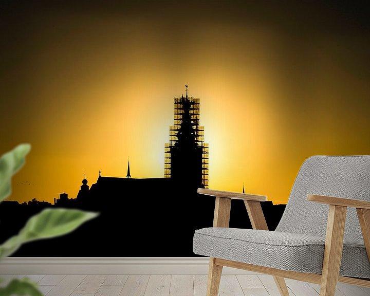 Sfeerimpressie behang: Stevenskerk in de steigers van Maerten Prins