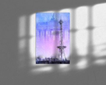 City-Art BERLIN Radio Tower & Brandenburg Gate | blue/pink van Melanie Viola