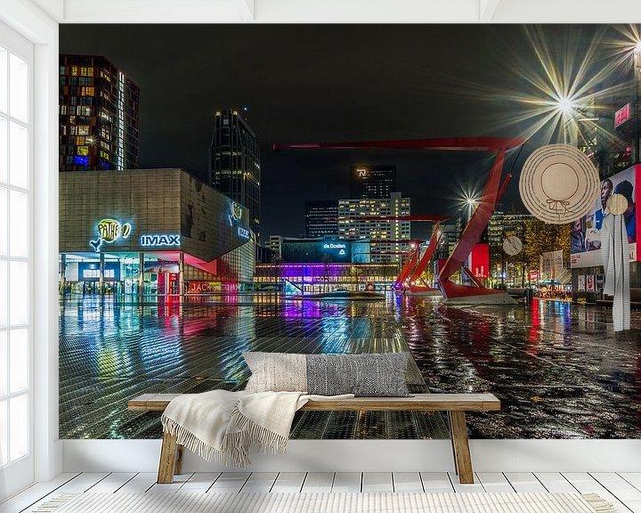 Sfeerimpressie behang: Het Schouwburgplein in Rotterdam van MS Fotografie | Marc van der Stelt