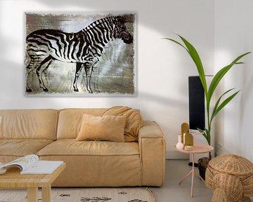 Zebrapaard Zilveren Beauty van Nicky`s Prints