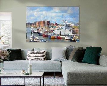 De haven van Scheveningen tekening van Lida Bruinen