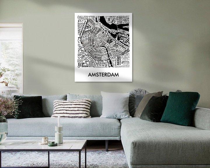 Sfeerimpressie: Plattegrond Amsterdam in woorden met A'dam toren van Muurbabbels Typographic Design