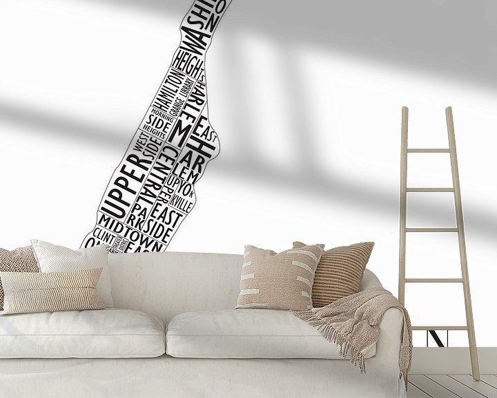 Sfeerimpressie behang: Plattegrond Manhattan in woorden van Muurbabbels Typographic Design