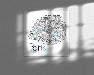 Karte von Paris in Worten von Muurbabbels Typographic Design