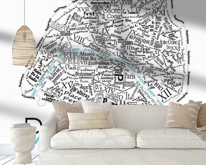 Sfeerimpressie behang: Plattegrond Parijs in woorden van Muurbabbels Typographic Design